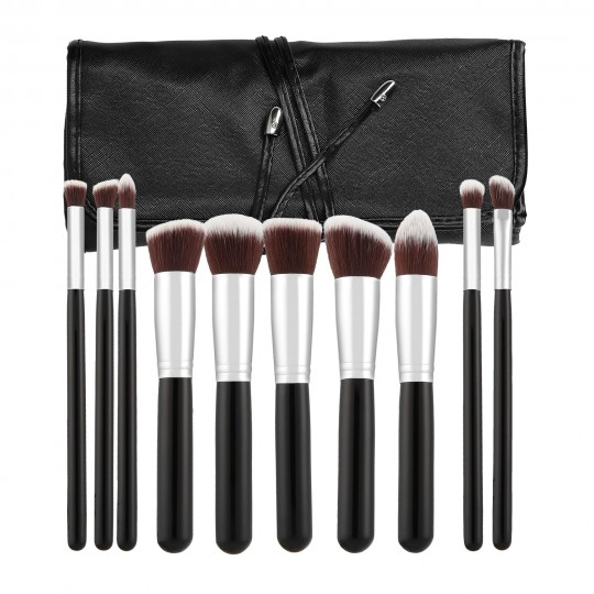 MIMO Set de 10 Brochas de Maquillaje, Negro - 1