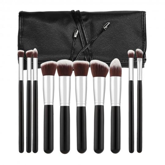 MIMO by Tools For Beauty, Set de 10 Brochas de Maquillaje, Negro