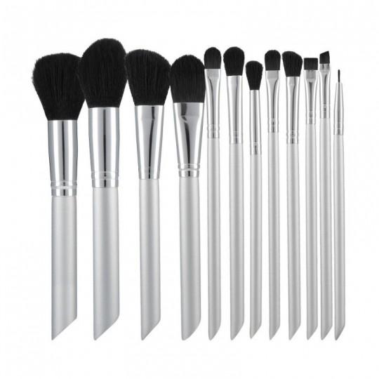 MIMO Set de 12 pinceles de maquillaje Plata - 1