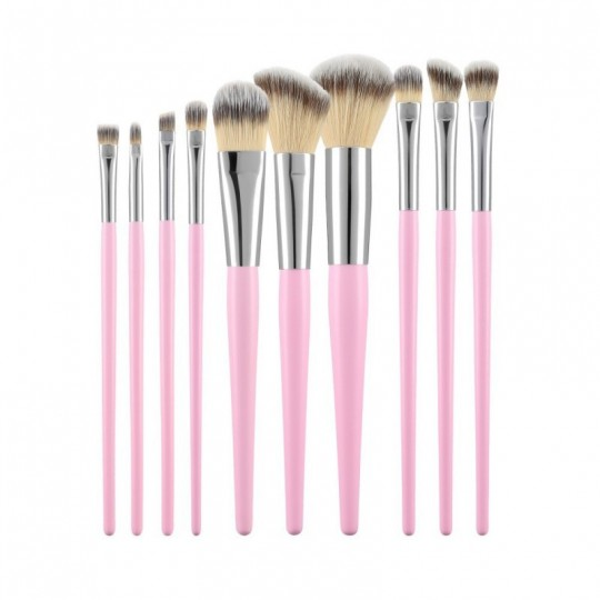 MIMO by Tools For Beauty, Set de 10 Brochas de Maquillaje, Rosa - 1