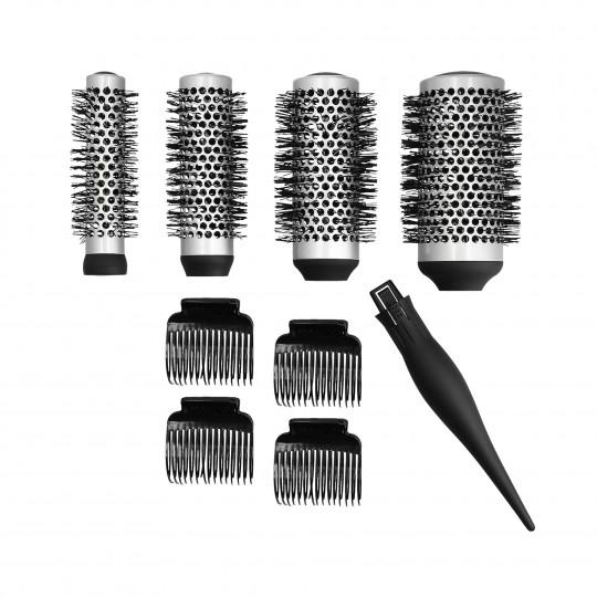 LUSSONI by Tools For Beauty, Set de 4 Cepillos de Modelado Intercambiables + 4 Clips para Cabello - 1