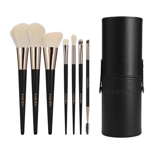 Kashōki SUISEN Set de 8 Brochas de Maquillaje con Tubo portabrochas