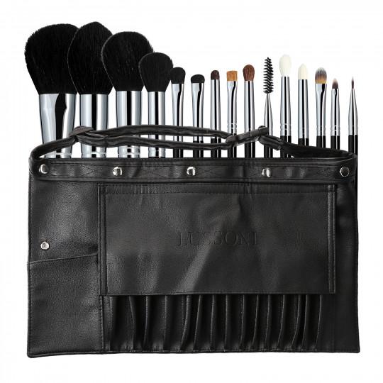 Lussoni Master Set de 16 brochas de maquillaje professional con cinturón