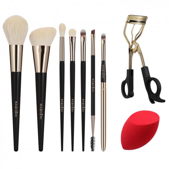 Kashōki by Tools For Beauty, HIMAWARI Set de 9 Brochas de Maquillaje con Rizador de Pestañas y Esponja - 1