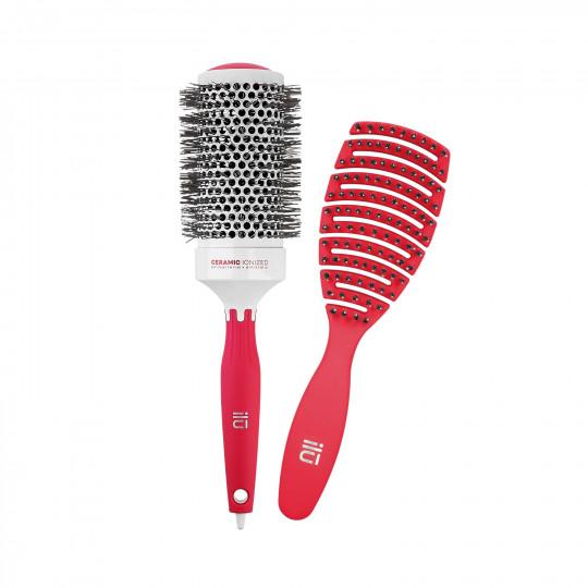ilū by Tools For Beauty, Set de 2 Cepillos Profesionales Rojos, para Modelar y Peinar el Cabello - 1