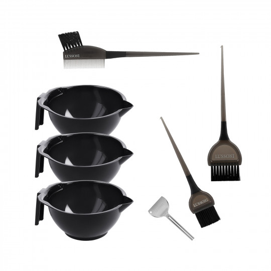 LUSSONI 7 Pcs Hair Coloring Kit: Hair Dyeing Bowls, Tinting Brushes, Tube Squeezer