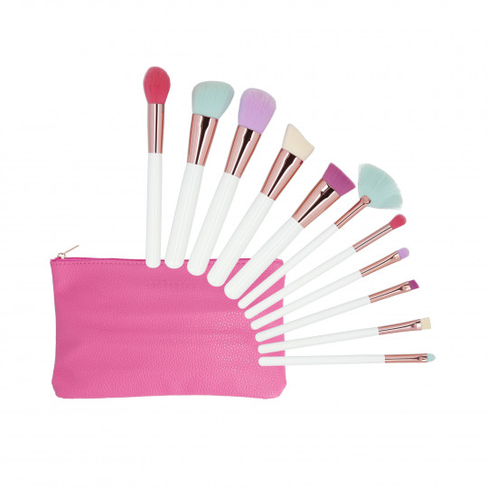 MIMO by Tools For Beauty, Set de 11 Brochas de Maquillaje con Estuche, Multicolor - 1
