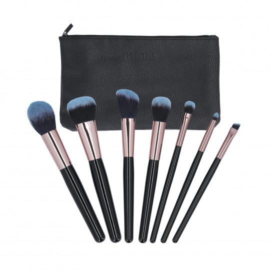 MIMO by Tools For Beauty, Set de 7 Brochas de Maquillaje con Estuche, Negro - 1