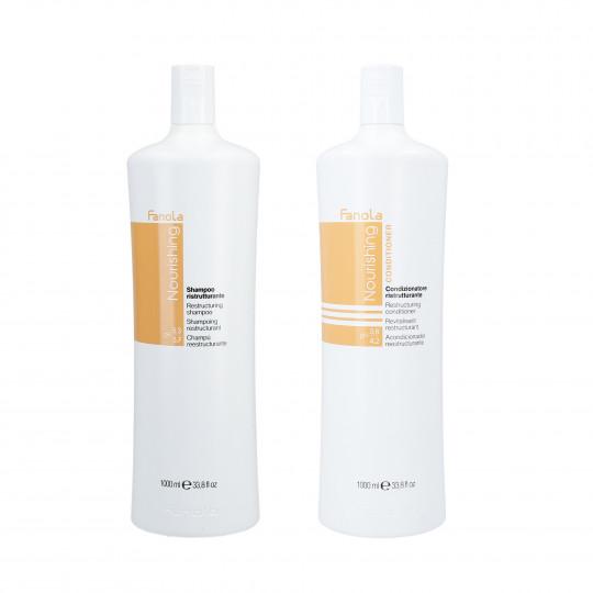 FANOLA NOURISHING Set para cabello seco, champú 1000ml + acondicionador 1000ml - 1