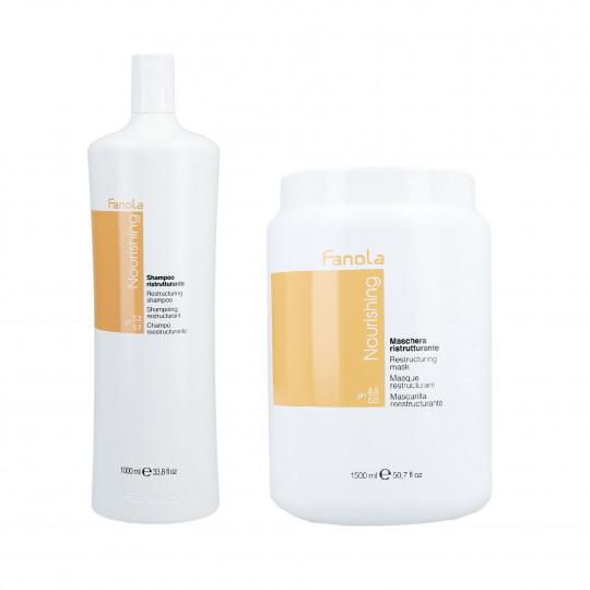 FANOLA NOURISHING Set para cabello seco, champú 1000ml + mascarilla regeneradora 1500ml - 1