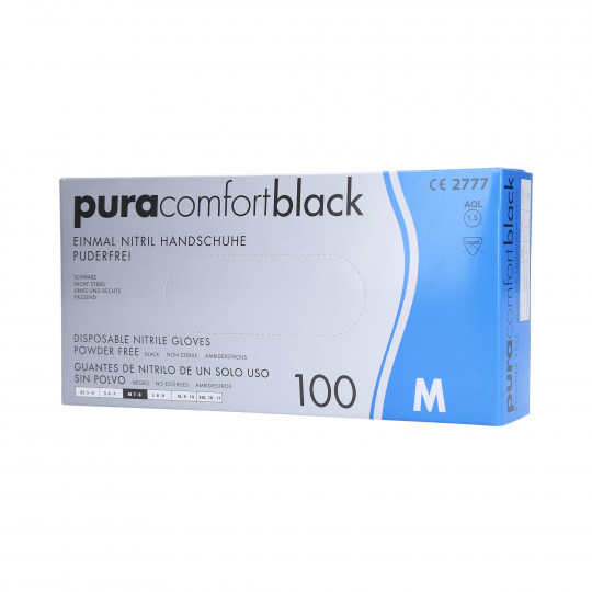 PURA COMFORT Guantes de nitrilo desechables, negros, talla M, 100uds. - 1