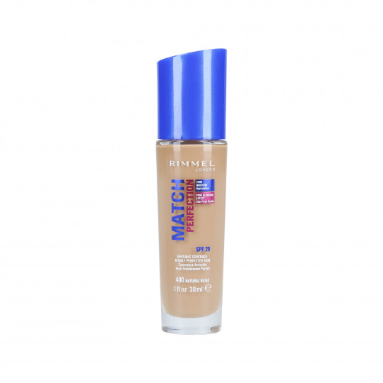 RIMMEL MATCH PERFECTION Base de maquillaje SPF20 400 Natural Beige 30ml